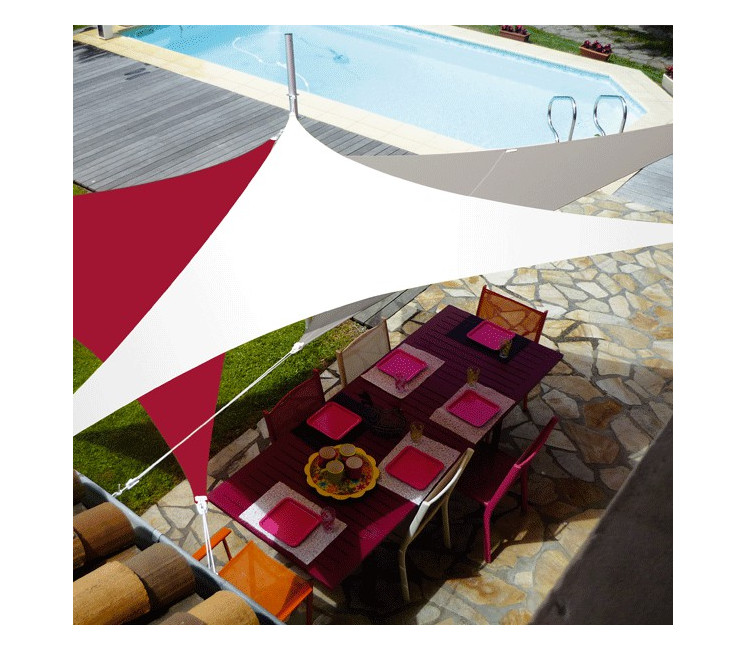 Voile d'ombrage extensible & nomade triangle 4x4x4m (T4)