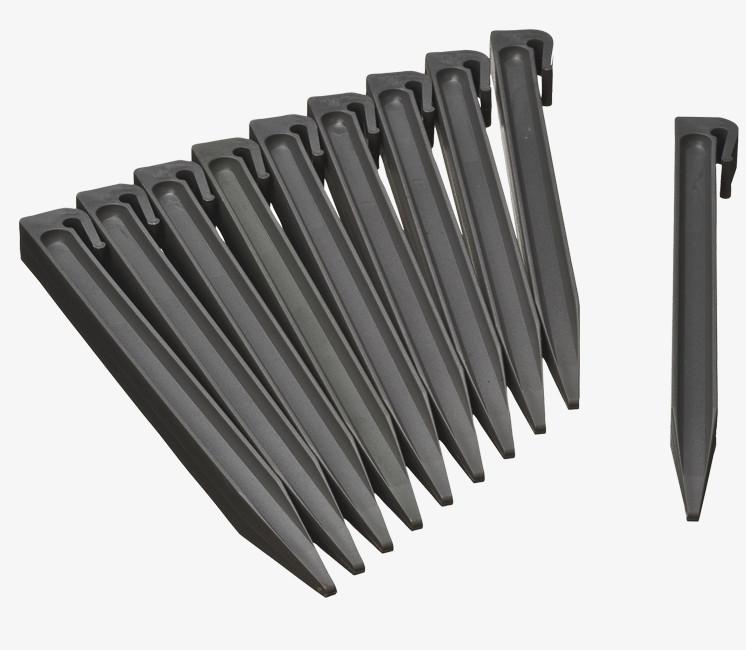 Lot de 10 piquets gris pour bordure de jardin 15cm